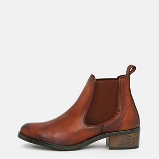 Hnedé dámske kožené chelsea topánky OJJU