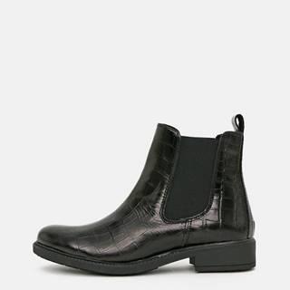 Čierne dámske kožené chelsea topánky s krokodýlím vzorom OJJU