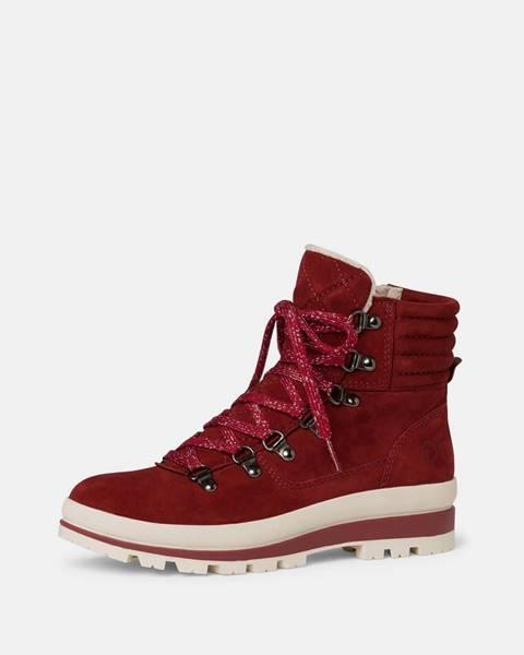 Červená zimná obuv Tamaris