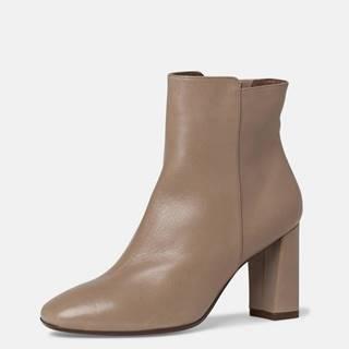 Béžové kožené členkové topánky Tamaris