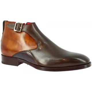Polokozačky Leonardo Shoes  8239I18 TOM VITELLO DELAVE CIOCCOLATO