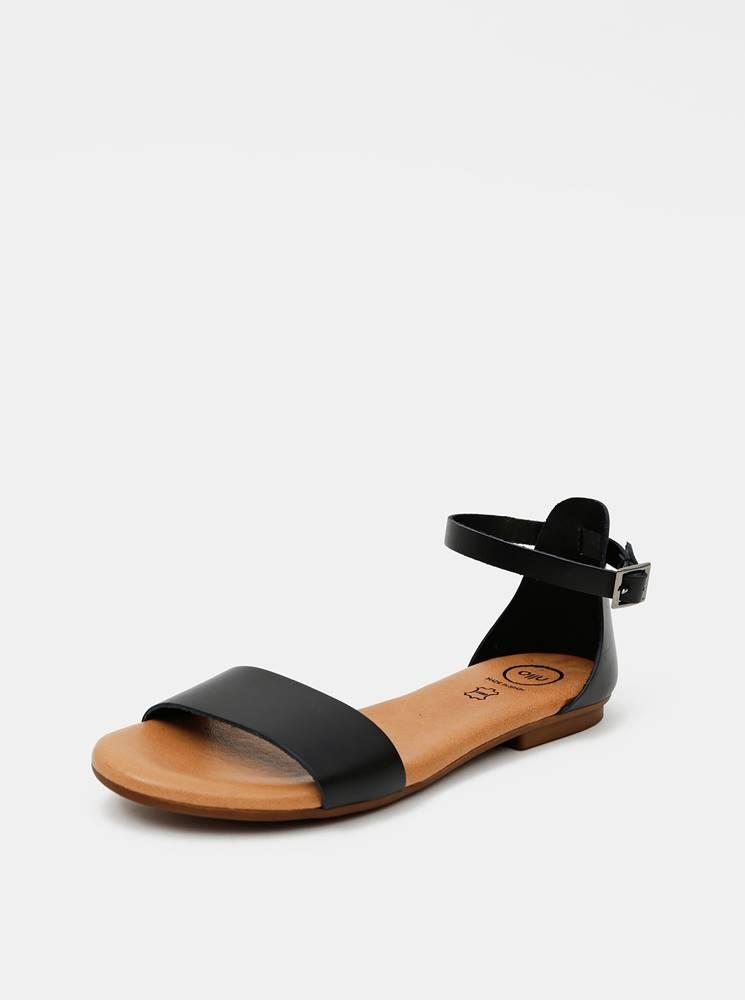 OJJU Čierne kožené sandále OJJU