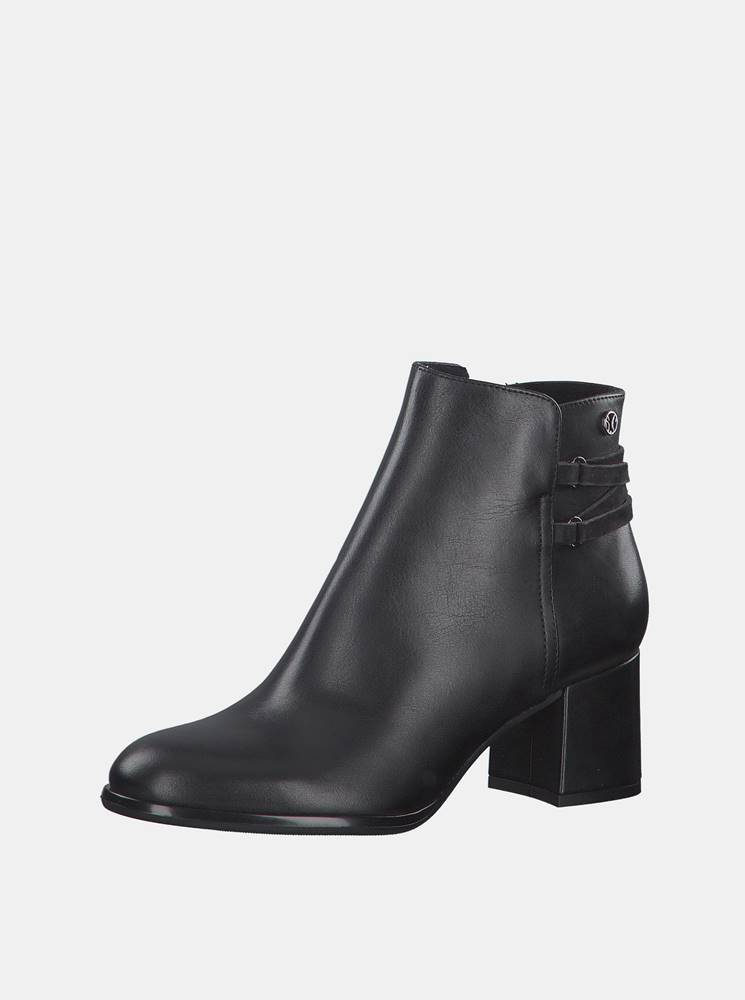 S.Oliver Čierne dámske kožené členkové topánky s.Oliver