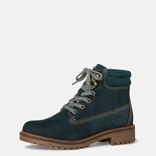Tmavozelené kožené členkové topánky Tamaris