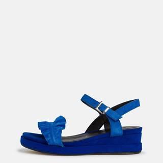 Modré semišové sandálky na platforme Tamaris