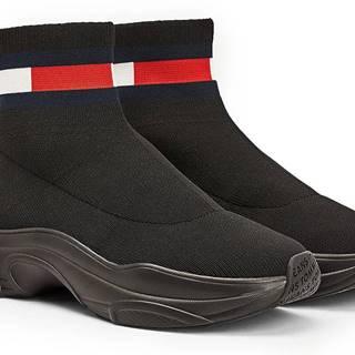 Tommy Hilfiger čierne ponožkové tenisky Tommy Jeans Flat Sock
