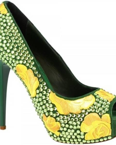 Zelené lodičky Leonardo Shoes