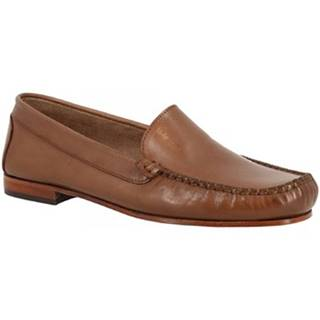 Mokasíny Leonardo Shoes  318 VITELLO CAPPUCCINO