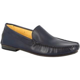 Mokasíny Leonardo Shoes  500 VITELLO BLU SCURO