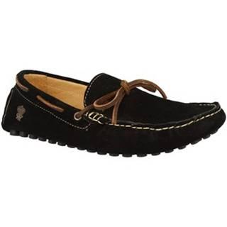 Mokasíny Leonardo Shoes  507 CAMOSCIO CRUST NERO