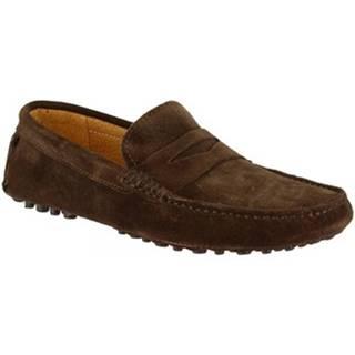 Mokasíny Leonardo Shoes  674 CAMOSCIO MARRON PIOLI
