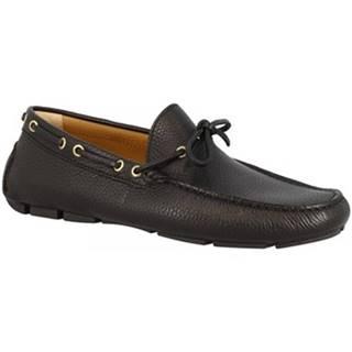 Mokasíny Leonardo Shoes  8103 MOUSSE_NERO.