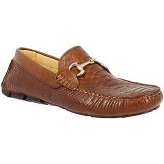 Mokasíny Leonardo Shoes  500 ANACONDA MARRONE