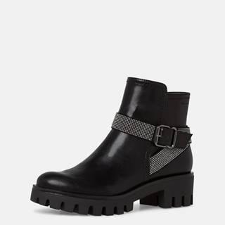 Čierne členkové topánky Tamaris