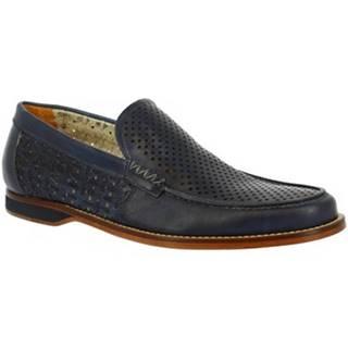 Mokasíny Leonardo Shoes  GABRY PE VITELLO BLUE