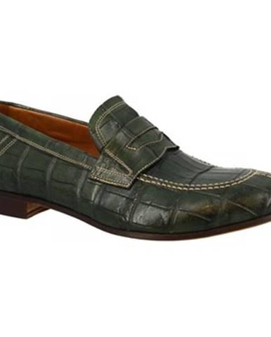 Mokasíny Leonardo Shoes  NOVARA COCCO VERDE