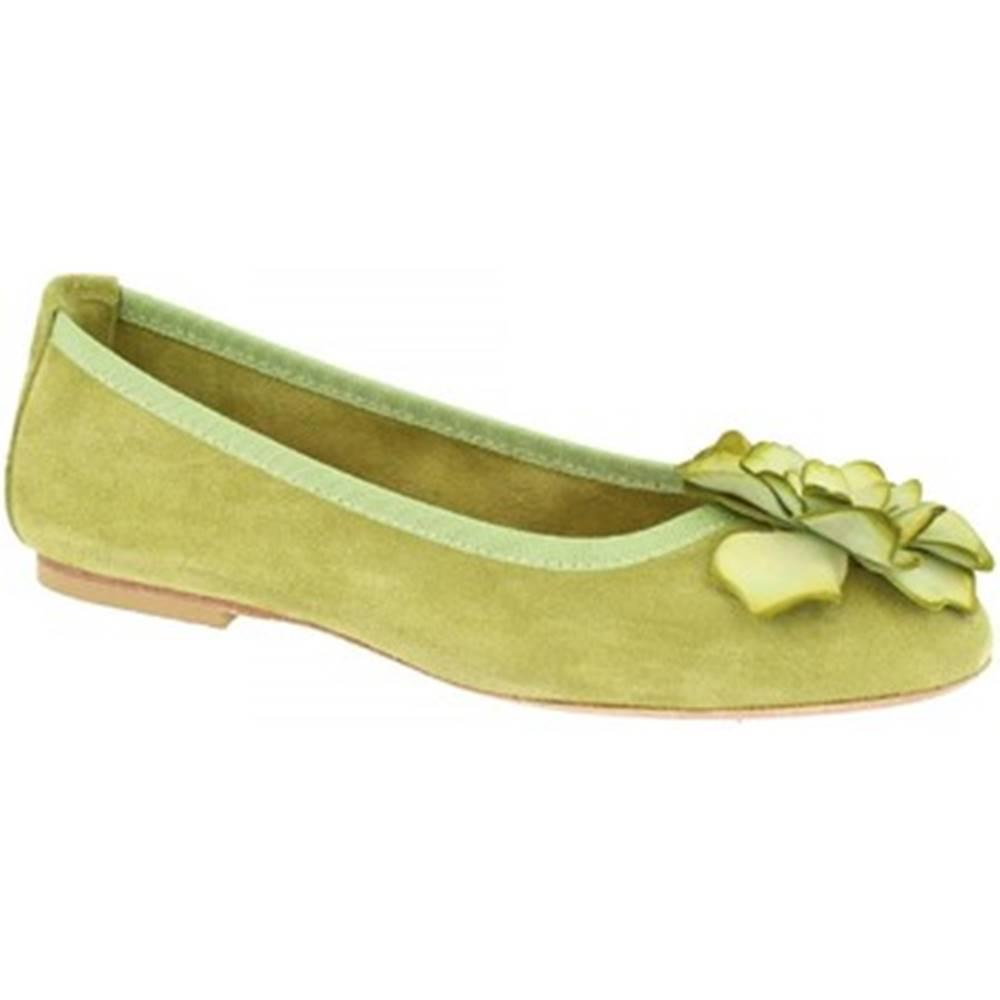 Leonardo Shoes Balerínky/Babies Leonardo Shoes  6087 VELOUR PISTACCHIO