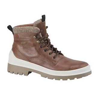 Hnedá kožená členková obuv s TEX membránou AM SHOE