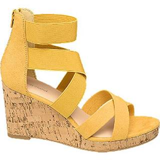 Žlté sandále na klinovom podpätku Graceland