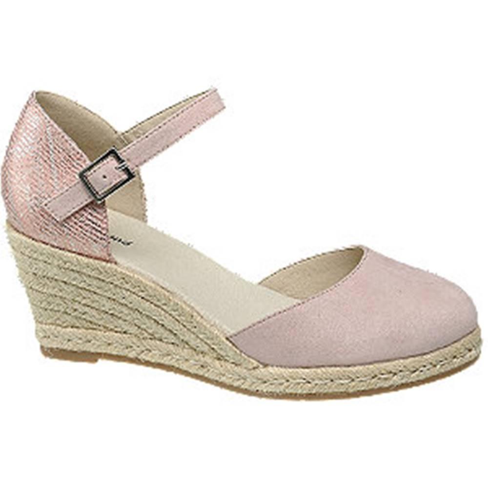 Graceland Ružové sandále na klinovom podpätku Graceland