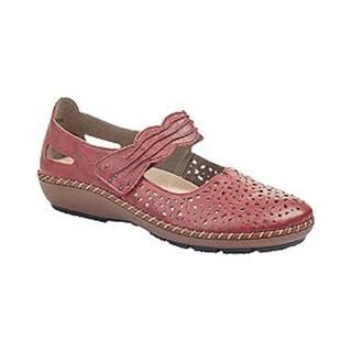 Červené komfortné kožené balerínky Rieker