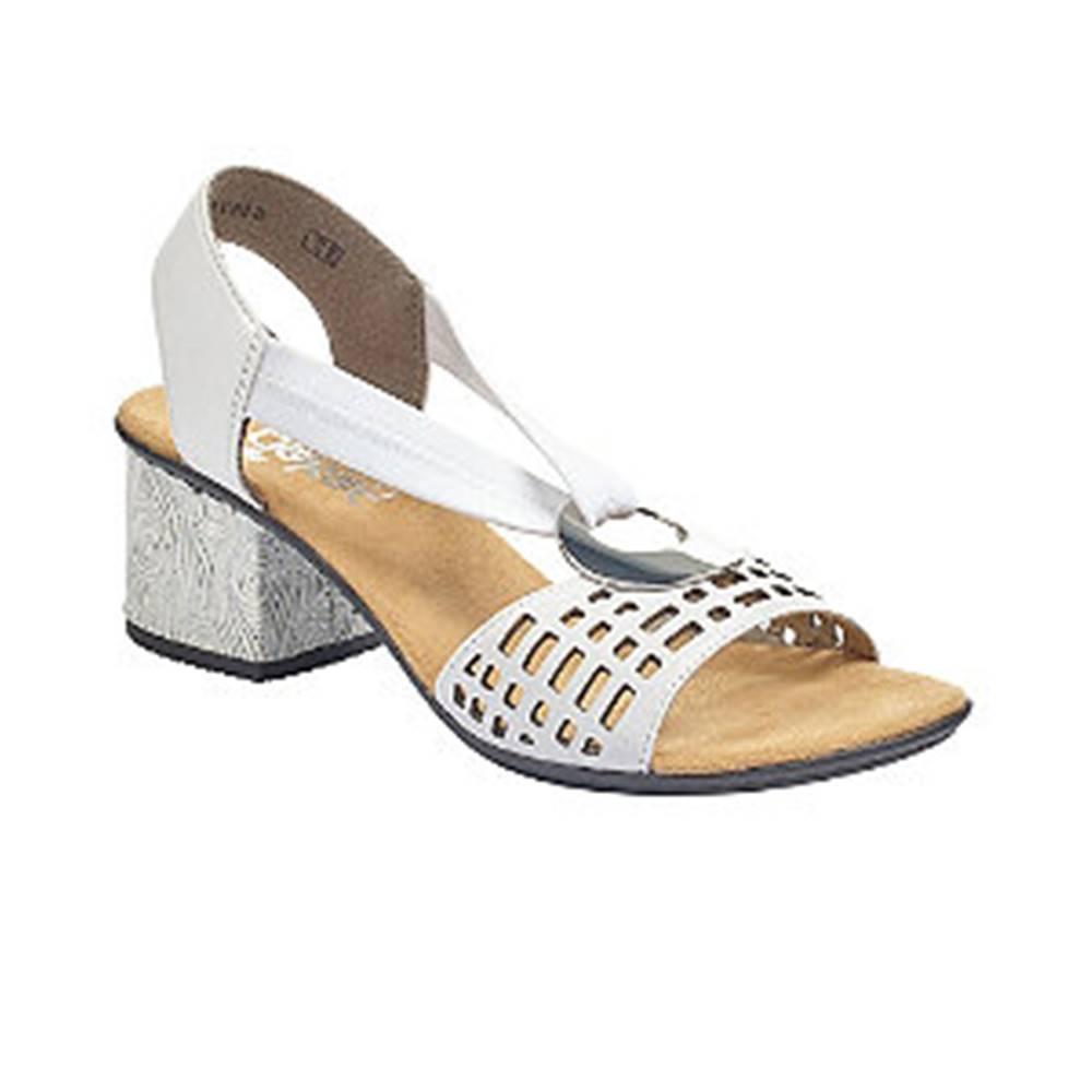 Rieker Biele kožené komfortné sandále na podpätku Rieker