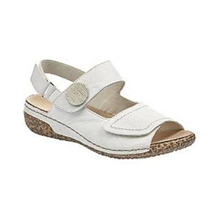 Biele kožené komfortné sandále Rieker