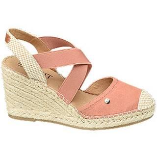 Ružové sandále na klinovom podpätku Esprit