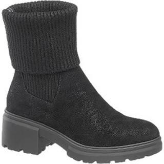 Čierne ponožkové členkové čižmy Catwalk