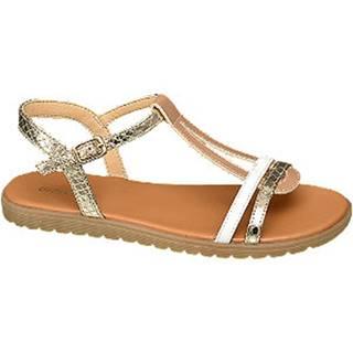 Metalické zlaté sandáliky Graceland