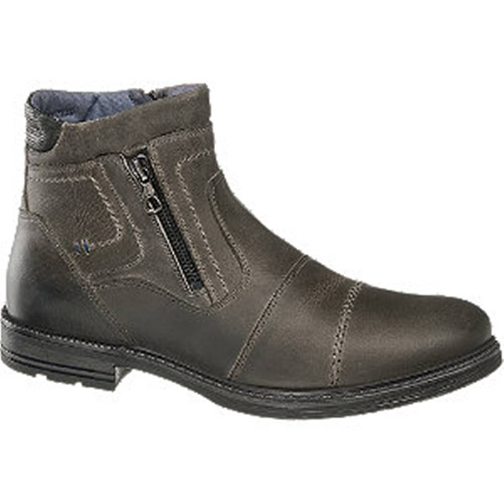 AM SHOE Sivá kožená členková obuv so zipsom AM SHOE