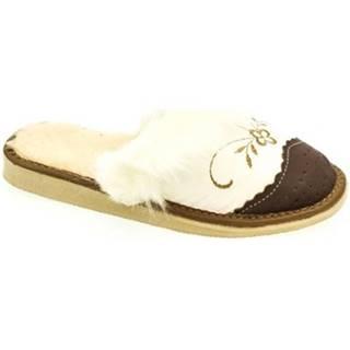Papuče John-C  Dámske bielo-hnedé papuče VLASY