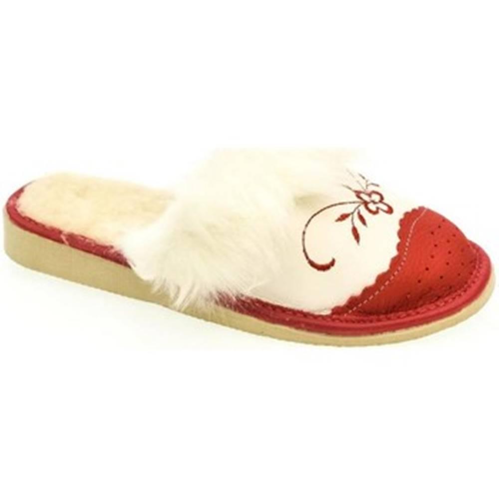 John-C Papuče John-C  Dámske bielo-červené papuče VLASY