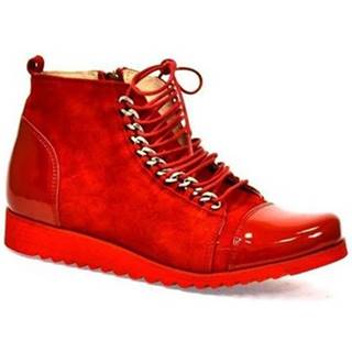 Polokozačky Oleksy  Dámske kožené červené topánky MISCHELL