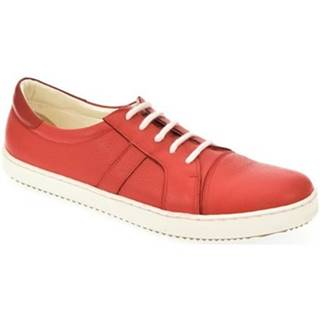 Derbie Alex  Červené kožené topánky so šnurovaním bez opätku ENVISA