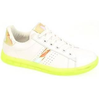 Nízke tenisky John-C  Dámske bielo-zelené tenisky NEON