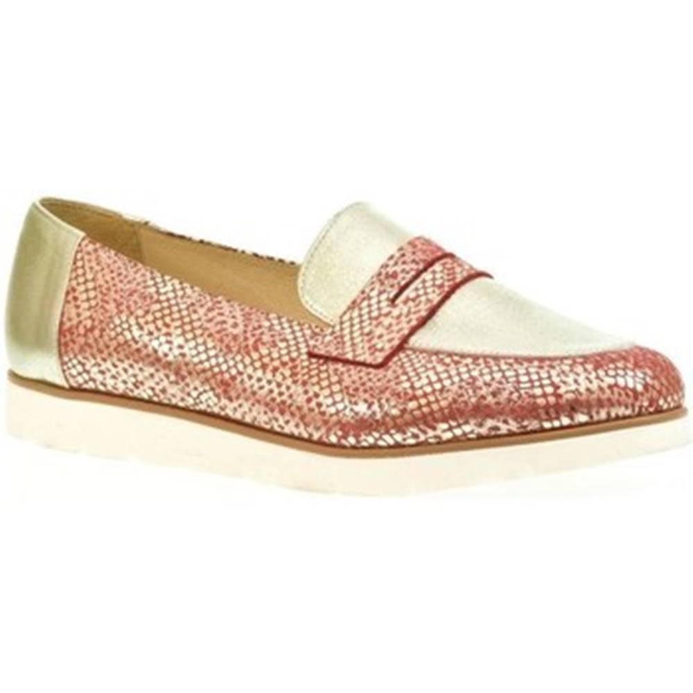 Carsona Mokasíny Carsona  Červeno-zlaté topánky  DENI