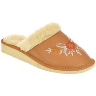 Papuče John-C  Dámske hnedé papuče REA
