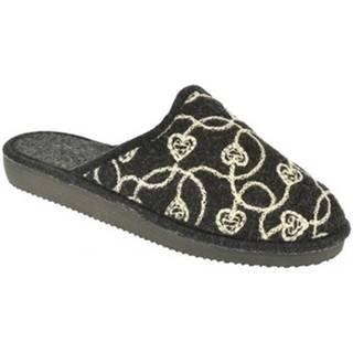 Papuče John-C  Dámske čierne papuče CYNTIA
