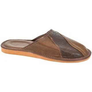 Papuče John-C  Pánske kožené hnedé papuče ANDREJ