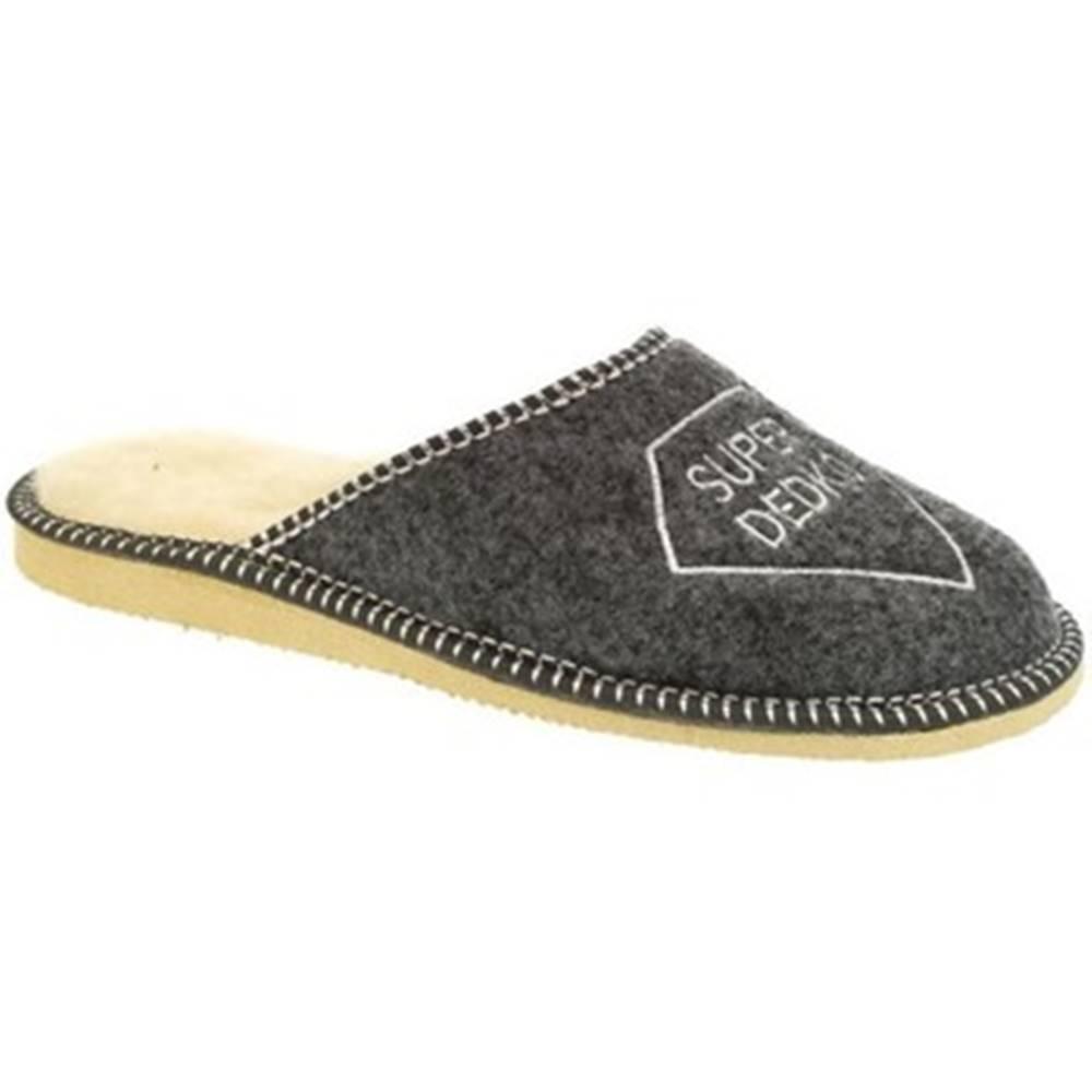 Bins Papuče Bins  Pánske sivé papuče DEDKO20
