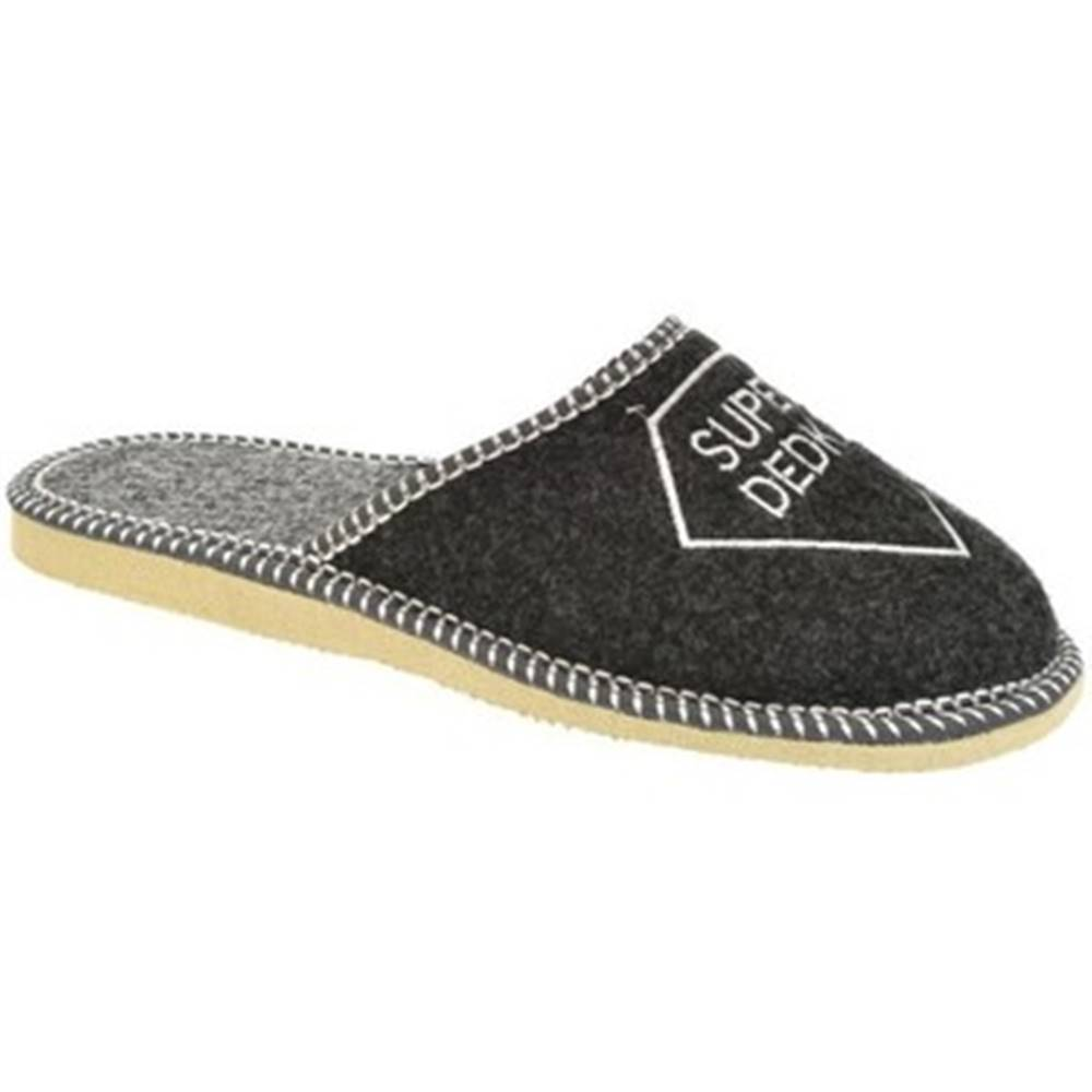 Bins Papuče Bins  Pánske sivé papuče SUPER DEDKO