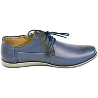 Derbie Krezus  Pánske kožené modré topánky IVEN