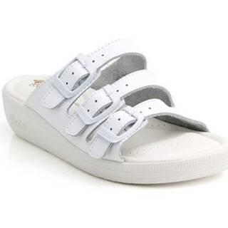 Sandále Batz  Dámske kožené biele šľapky 3BCS