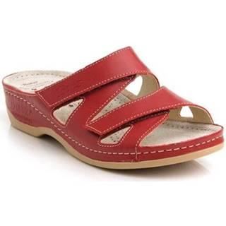Šľapky Batz  Dámske kožené červené šľapky ENI