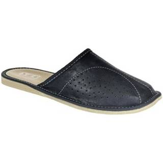 Nazuvky John-C  Pánske kožené tmavo-modré papuče RICH