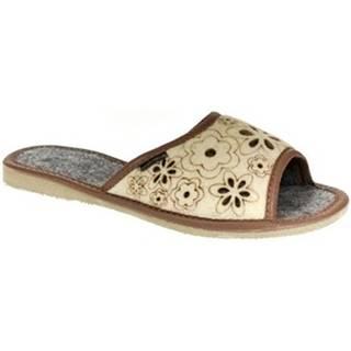 Papuče  Dámske hnedé papuče AIMI