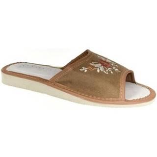 Papuče John-C  Dámske hnedé papuče VERONA
