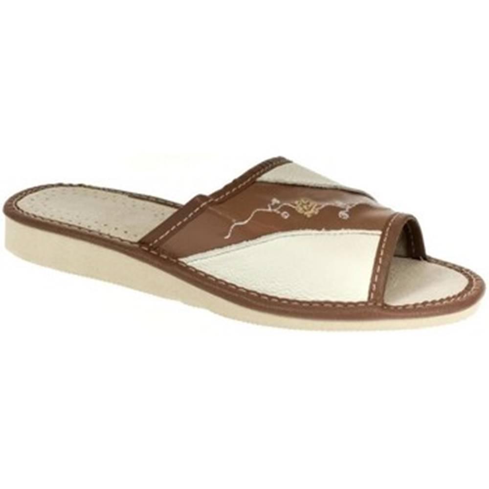 John-C Papuče John-C  Dámske hnedé papuče SHONA