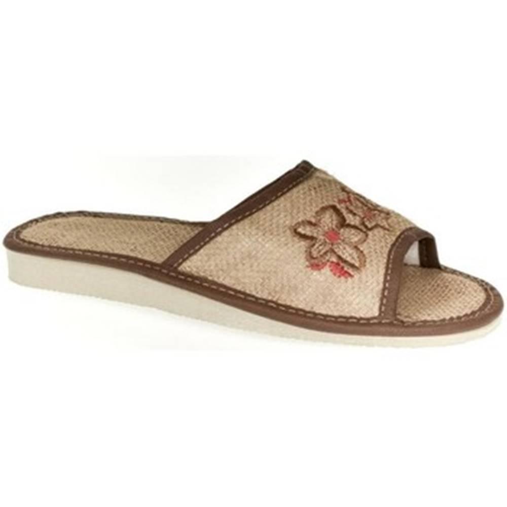 John-C Papuče  Dámske svetlo-hnedé papuče RIVKA